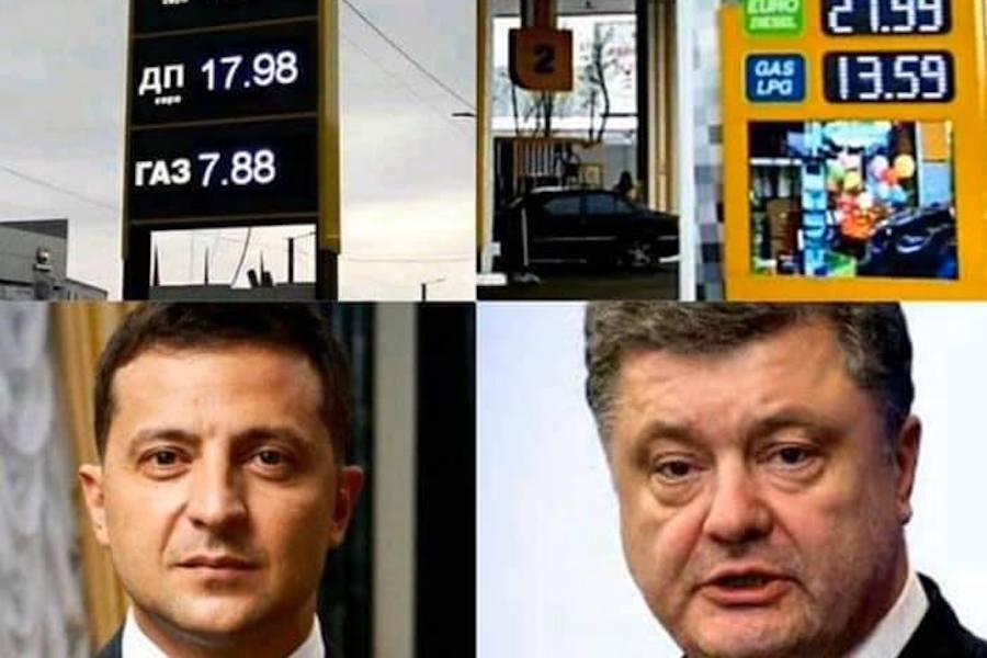 Ось приклад типової картинки, на якій ми бачимо, що виявляється зниження цін на бензин це заслуга Зеленського, а не світова коньюктура – політолог