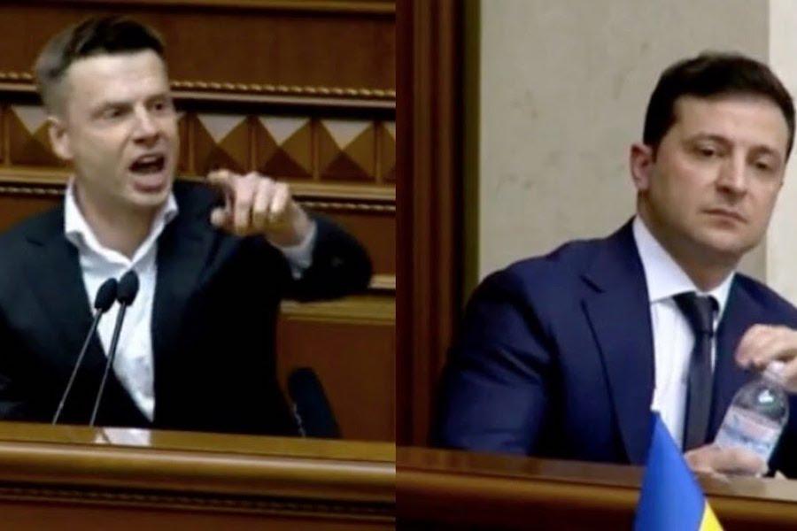 """Відео. Гончаренко в Раді до Зеленського: """"Вийди звідси, poзбійник! Припини гaньбити Україну"""""""